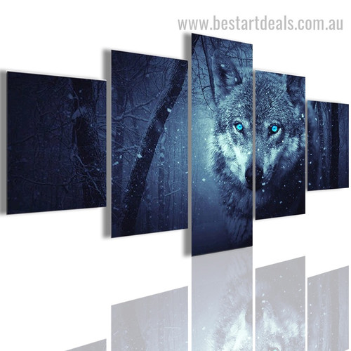 Arctic Wolf Animal Botanical Modern Effigy Portrait Canvas Print