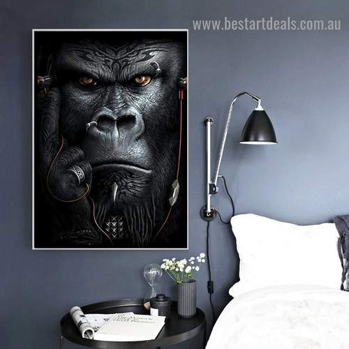 Angry Orangutan Animal Abstract Modern Artwork Portrait Canvas Print for Room Wall Adornment
