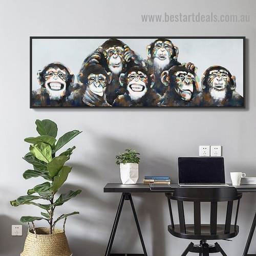 Funny Faces Monkeys Animal Abstract Modern Artwork Portrait Canvas Print for Room Wall Décor