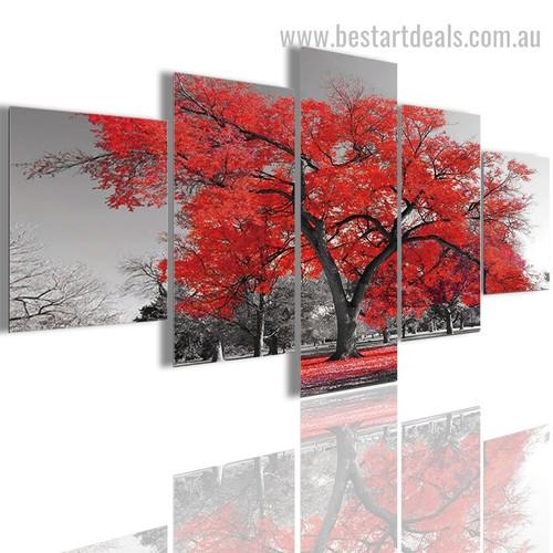 Red Maple Tree Botanical Modern Artwork Photo Canvas Print