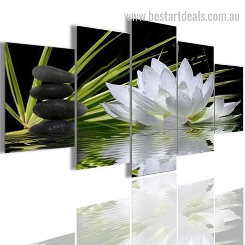 White Lotus Botanical Nature Modern Portraiture Image Canvas Print