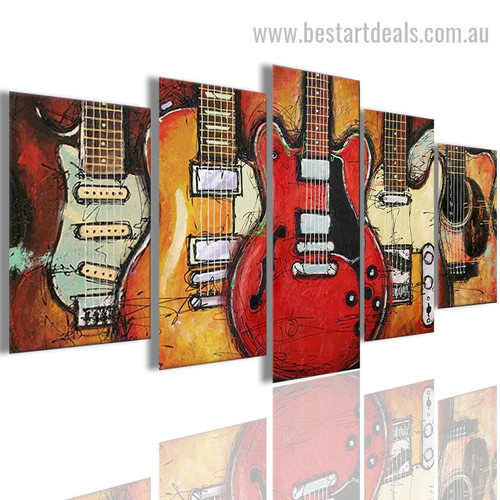Guitar Collage Reproduction Abstract Nordic Painting Picture Canvas Print