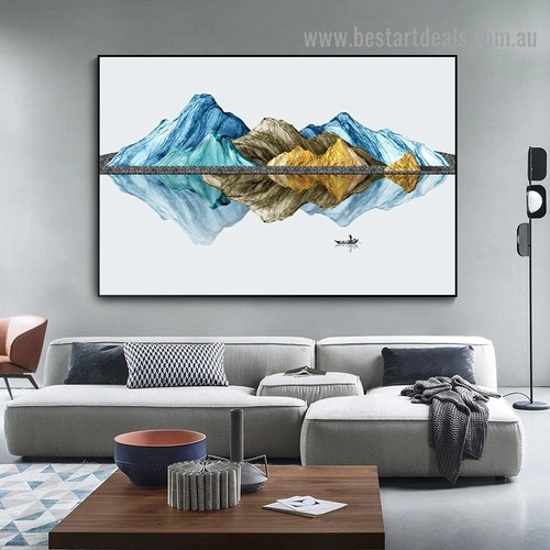 Mountain Reflection Abstract Landscape Modern Artwork Picture Canvas Print for Room Wall Adornment
