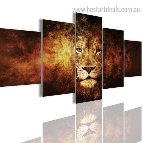 Fire Lion Animal Modern Framed Painting Picture Canvas Print