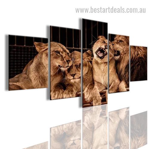 Lion Pride Animal Modern Artwork Picture Canvas Print