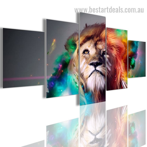 Colourful Lion Abstract Animal Modern Portraiture Photo Canvas Print