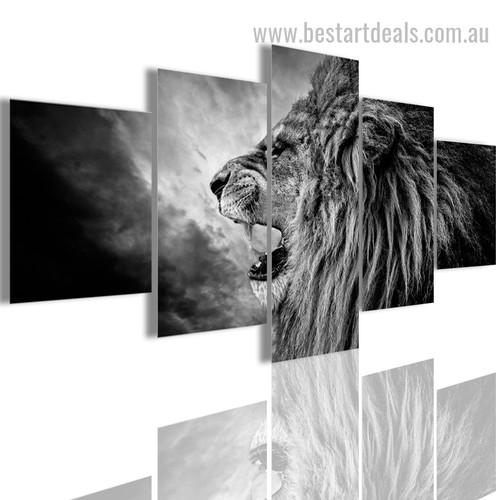 Snarling Leo Animal Modern Painting Photo Canvas Print