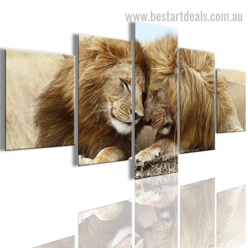 Lions in Love Animal Landscape Modern Effigy Photo Canvas Print