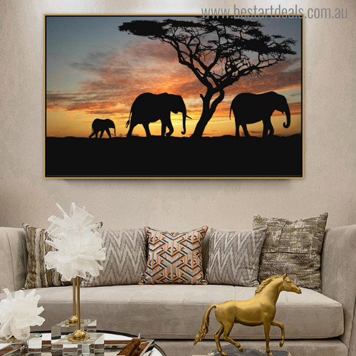 African Elephants Modern Landscape Picture Canvas Print for Room Wall Ornament