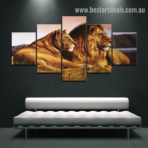 Ambushing Cougars Animal Landscape Modern Framed Portraiture Portrait Canvas Print for Room Wall Adornment