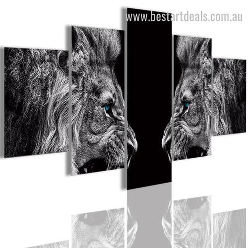 Blue Eyed Beasts Animal Modern Framed Smudge Photo Canvas Print