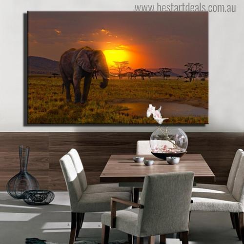 Sundown Africa Modern Landscape Photo Canvas Print