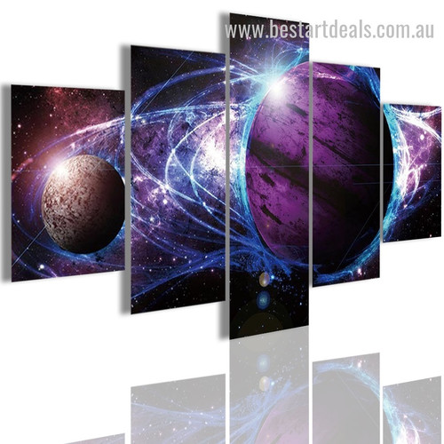 Layers Of Planets Abstract Nature Landscape Modern Framed Painting Pic Canvas Print