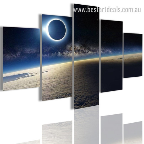 Blue Solar Eclipse Nature Landscape Modern Framed Artwork Photo Canvas Print