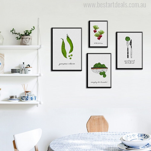 Veggie Modern Typography Painting Print for Dining Room Decoration