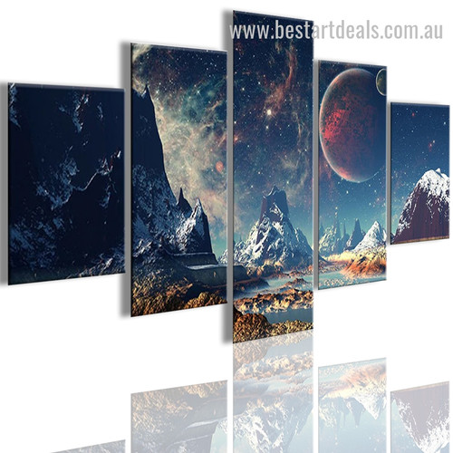 Mountains and Space Nature Landscape Modern Framed Effigy Picture Canvas Print