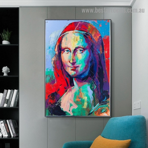 Colorful Mona Lisa Figure Modern Artwork Picture Canvas Print for Room Wall Decoration