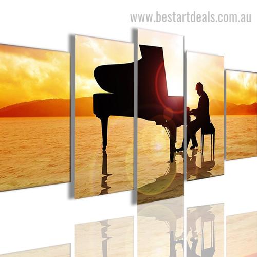 Playing Piano Figure Landscape Modern Framed Smudge Portrait Canvas Print