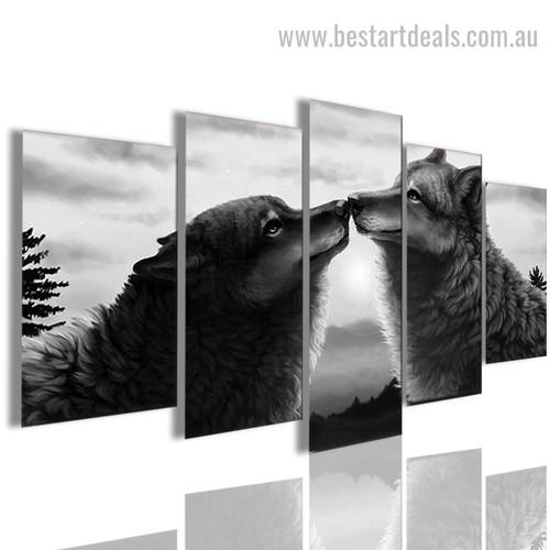 Polar Wolves Animal Nature Modern Framed Effigy Image Canvas Print