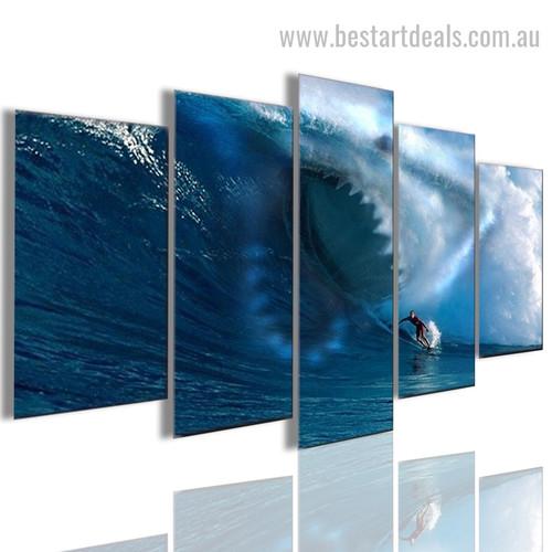 Big Shark Animal Landscape Modern Framed Effigy Image Canvas Print