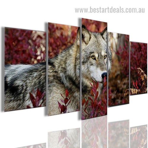 Canis Lupus Animal Landscape Framed Smudge Pic Canvas Print