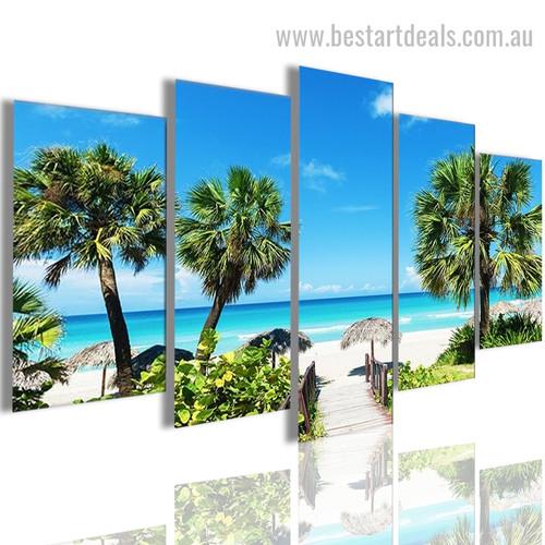 Caribbean Beach Nature Landscape Modern Framed Smudge Picture Canvas Print