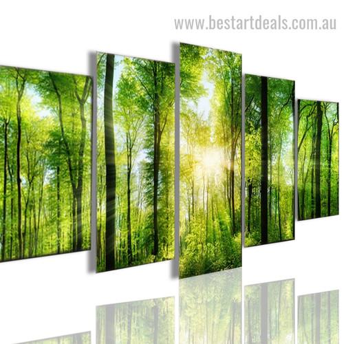 Wild Green Forest Botanical Landscape Modern Framed Effigy Image Canvas Print