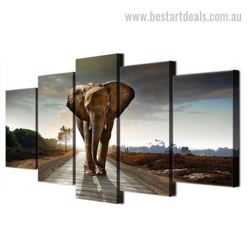 Genus Loxodonta Animal Landscape Modern Framed Painting Image Canvas Print
