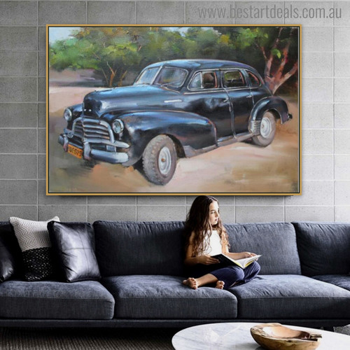 Antique Car Abstract Modern Travel Wall Art for Living Room Ornament