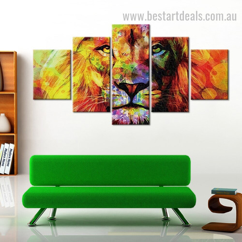 Glaring Colorful Lion Animal Modern Framed Smudge Photo Canvas Print for Room Wall Flourish