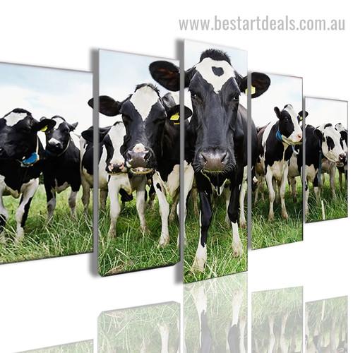 Cows Animal Landscape Framed Smudge Image Canvas Print