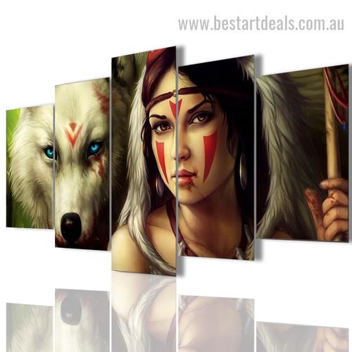 Warriors Animal Figure Modern Framed Smudge Image Canvas Print