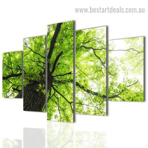 Green Foliage Tree Botanical Nature Landscape Modern Framed Painting Image Canvas Print