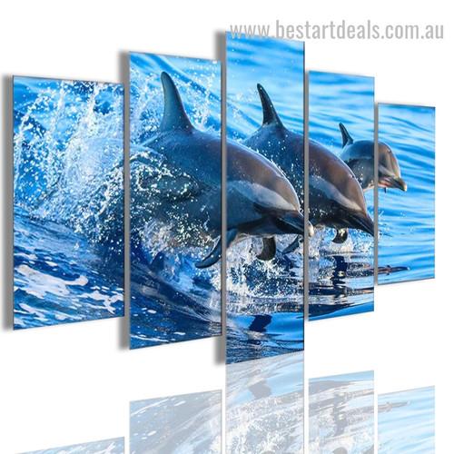 Dolphins Animal Seascape Modern Framed Portraiture Image Canvas Print