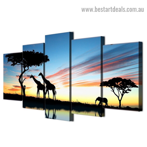 Africa Safari Landscape Nature Modern Artwork Photo Canvas Print for Room Wall Ornament