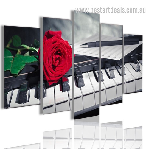 Piano Rose Botanical Music Modern Framed Smudge Picture Canvas Print