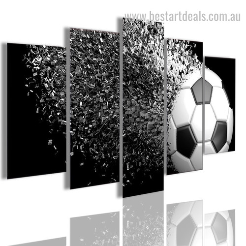 Football Disintegration Abstract Modern Framed Painting Portrait Canvas Print