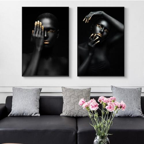 Dark Skin Figure Modern Picture Print for Living Room