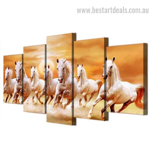 Horse Racing Animal Landscape Modern Framed Portraiture Picture Canvas Print