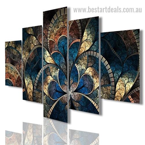 Motif Design Pattern Abstract Floral Modern Framed Artwork Image Canvas Print