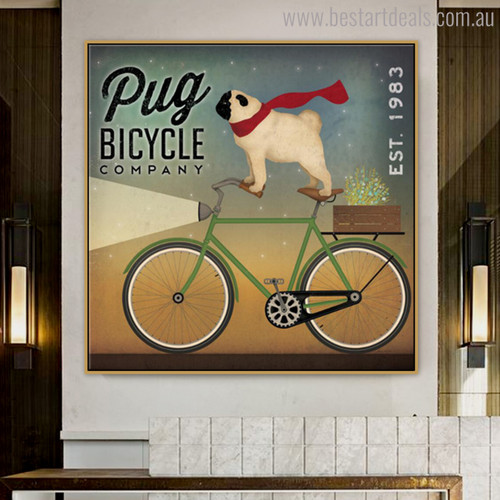 Pug Animal Floral Modern Painting Print for Room Wall Outfit