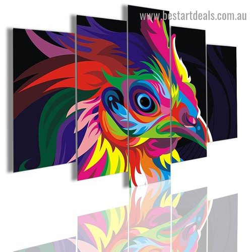 Colorful Hen Bird Modern Artwork Photo Canvas Print for Room Wall Adornment