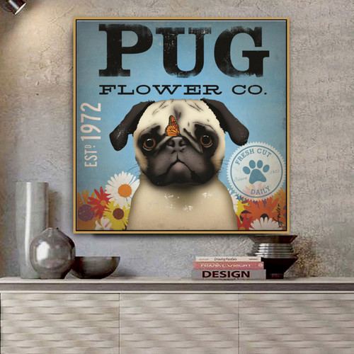 Pug Flower Animal Botanical Typography Painting Canvas Print for Room Wall Decor