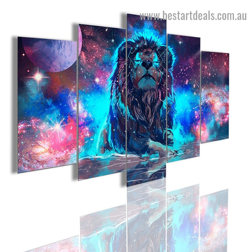 Leo Nebula Lion Animal Abstract Modern Artwork Photo Canvas Print for Room Wall Adornment