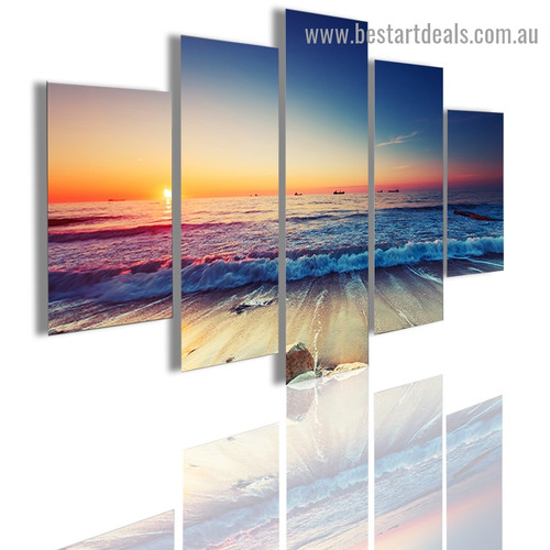 Sunset Beach Landscape Modern Artwork Picture Canvas Print for Room Wall Adornment