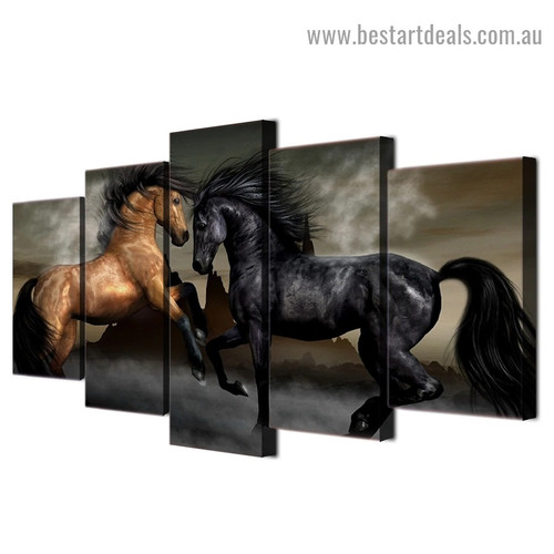 Black Brown Horse Animal Modern Artwork Picture Canvas Print for Room Wall Ornament