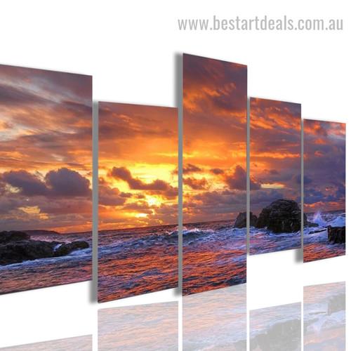 Sunset Rocks Nature Landscape Modern Framed Artwork Image Canvas Print