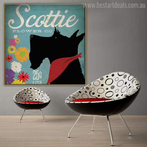 Scottie Animal Botanical Modern Typography Painting Canvas Print for Room Wall Tracery