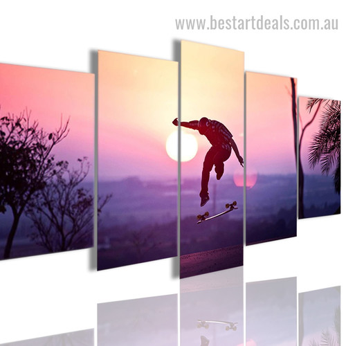 Aesthetic Skater Figure Landscape Modern Framed Artwork Image Canvas Print