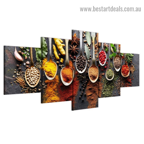 Herbs and Spices Food & Beverages Modern Artwork Portrait Canvas Print for Room Wall Adornment